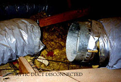 heater repair furnace repair central gas furnace repair. Air duct releasing air into an attic, Corona, Norco, Anaheim, Yorba Linda, Irvine, Mission Viejo, Whittier duct testing