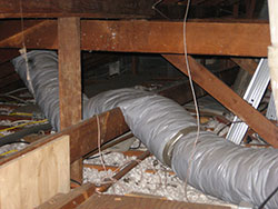 heater repair furnace repair central gas furnace repair. Old air ducting crushed. Heating and air conditioning ducts